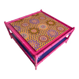 Faux Bamboo Chippendale Square Coffee Table, Hot Pink For Sale