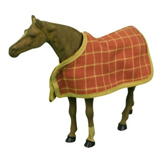Lead Horse W/ Tattersall Blanket Figurine