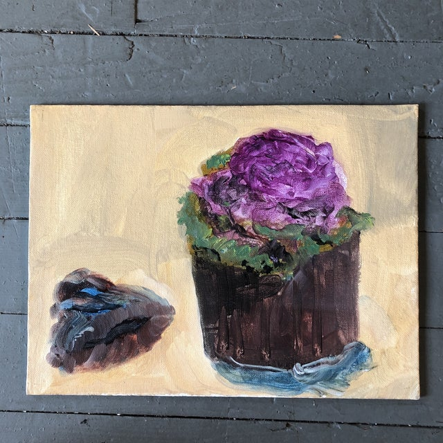 2000 - 2009 Original Contemporary Impressionist Still Life Painting With Purple Cabbage For Sale - Image 5 of 5