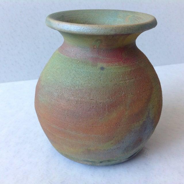 Earth Tone Raku Pottery Vase - Image 2 of 11
