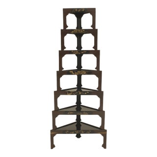 Asian Japanese Stacked Black Lacquered Tables- Set of 7 For Sale