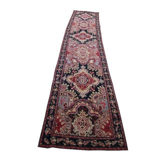 "Antique Persian Black and Red Karabagh Rug - 3'8"" X 18'4"" For Sale"