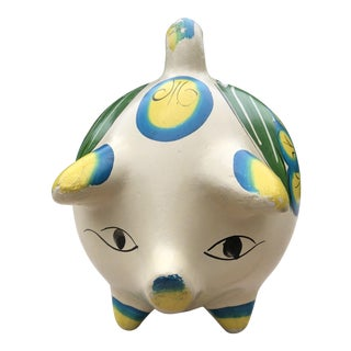 Cny- Year of the Pig Folk Art Hand Painted Pot Belly Pig Coin Bank For Sale