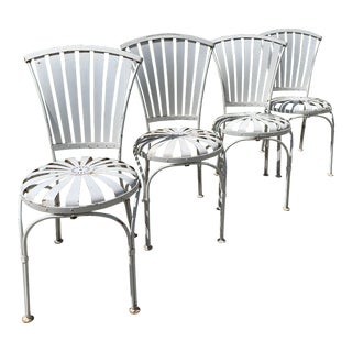 Vintage Mid Century French Francois Carre Sunburst Garden Chairs- Set of 4 For Sale
