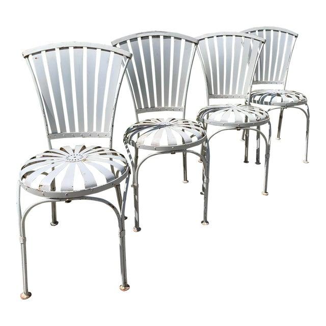 Vintage Mid Century French Francois Carre Sunburst Garden Chairs- Set of 4 For Sale