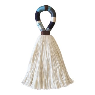 Boho Chic Blue and Brown Hula Tassel Door Hanger For Sale
