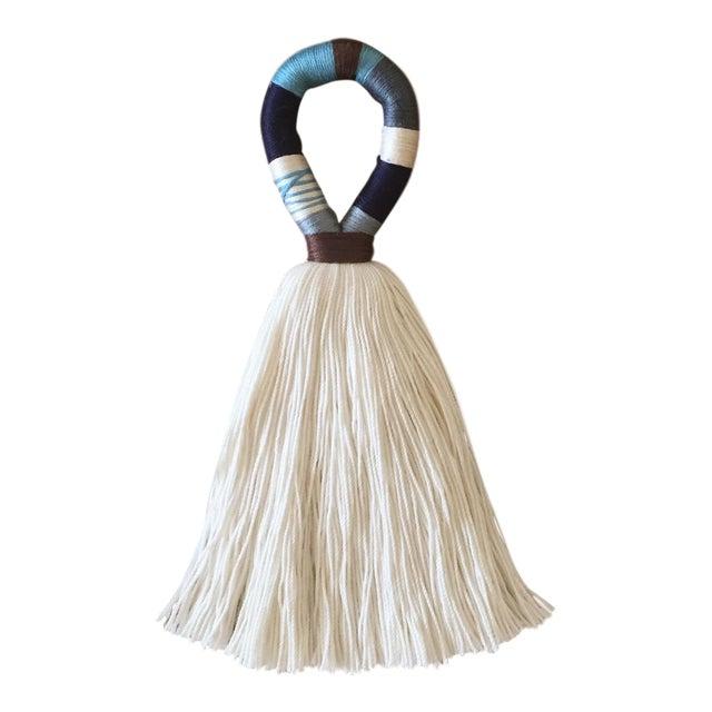 Boho Chic Blue and Brown Hula Tassel Door Hanger For Sale