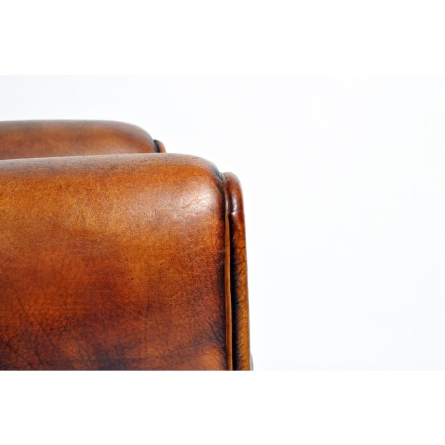 1960s Vintage French Brown Leather Armchairs - a Pair For Sale - Image 11 of 13