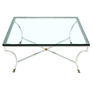 Glass Top Square Coffee Table with Chrome and Brass Hoof-Feet Base For Sale
