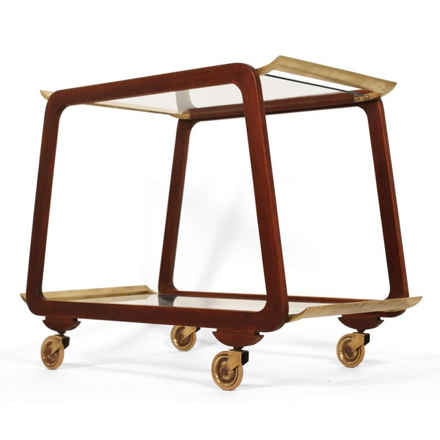 Mid-Century Modern Austrian Mid Century Walnut & Brass Serving Trolley For Sale - Image 3 of 7