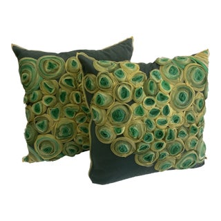 Floral Hand Applied Pillows - a Pair For Sale