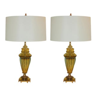 Marbro Glass Table Lamps Gold For Sale