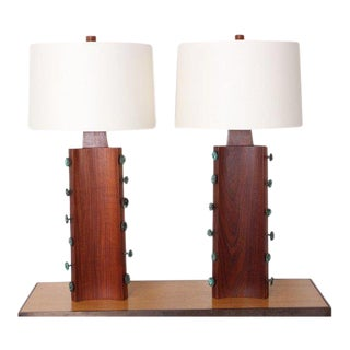 Pair of Gordon Martz Walnut and Bronze Lamps For Sale