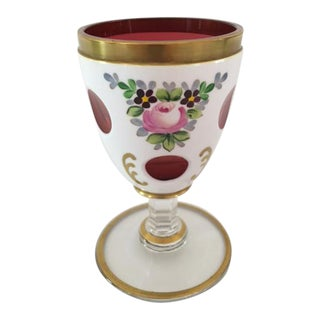 Vintage Bohemian White Cut to Cranberry Cordial Glass