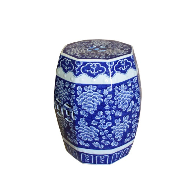 White Chinese Blue & White Porcelain Floral Theme Octagon Stool Table For Sale - Image 8 of 8