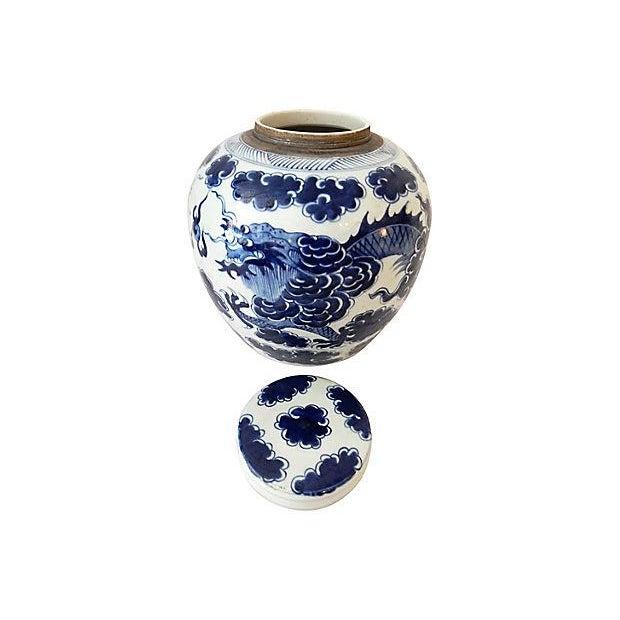 Blue Blue & White Ginger Jar w/ Dragon For Sale - Image 8 of 9