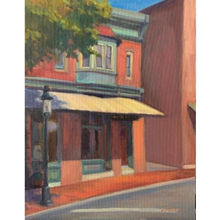 """Sidestreet Light"" Contemporary Realist Architectural Street Scene Oil Painting For Sale"