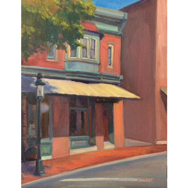 """""""Sidestreet Light"""" Contemporary Realist Architectural Street Scene Oil Painting For Sale"""