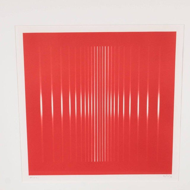 This mid-century modern abstract Op-Art serigraph was realized by Ennio Finzi Circa 1960. Vertical white bands on a candy...