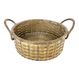 French 1940's Hand Woven Brass Round Metal Basket For Sale