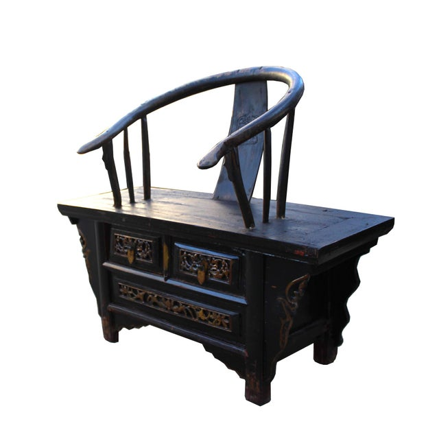 Chinoiserie Vintage Rustic Oriental Horse Shoe Curve Back Accent Bench Chair For Sale - Image 3 of 7