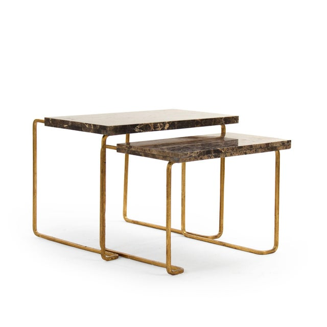 Hollywood Regency Giania Tables in Gold - A Pair For Sale - Image 3 of 3