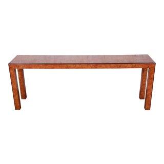 John Widdicomb Mid-Century Modern Burl Wood Console Table For Sale