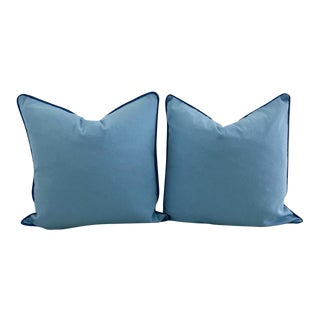 Custom Made Cornflower Blue Pillows - a Pair - No Inserts For Sale