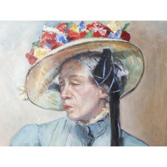 Traditional Walt Litt Vintage Potrait of a Woman Oil Painting For Sale - Image 3 of 6