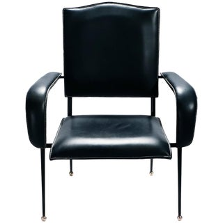 Rare Jacques Adnet Leather Armchair, 1950s For Sale