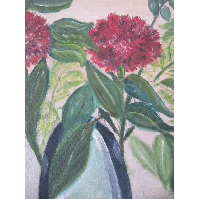 Mid-Century Still Life Painting With Flowers - Image 5 of 8