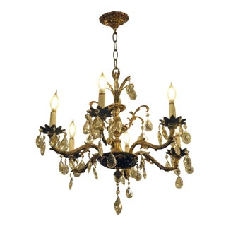 Salvaged Waldorf Petite Spanish Crystal Chandelier For Sale