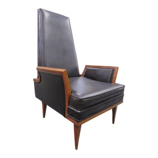 1950s Vintage Karpen Furniture Co. Highback Black Lounge Arm Chair For Sale