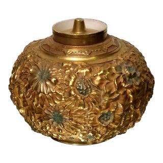 Antique Derby Porcelain Gold Repousse Covered Bowl For Sale