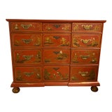 Image of Chinese Red Chinoiserie Chest of Drawers by Baker Furniture C.1970s For Sale