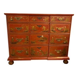 Chinese Red Chinoiserie Chest of Drawers by Baker Furniture C.1970s For Sale