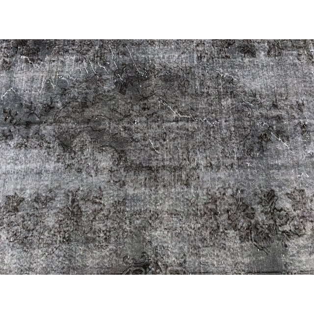 Textile Turkish Vintage Wool Dark Gray Rug - 5′5″ × 9′3″ For Sale - Image 7 of 11