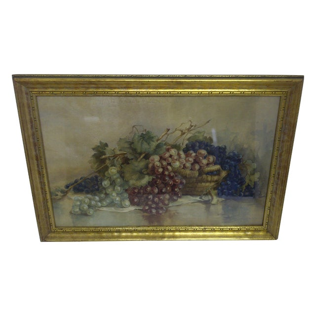 """""""Grapes,"""" Victorian Painting For Sale"""