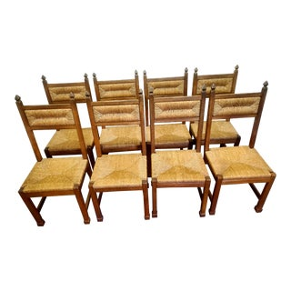 1950s Mid-Century Modern Rush Seat Dining Chairs in the Manner of Charles Dudouyt - Set of 8 For Sale