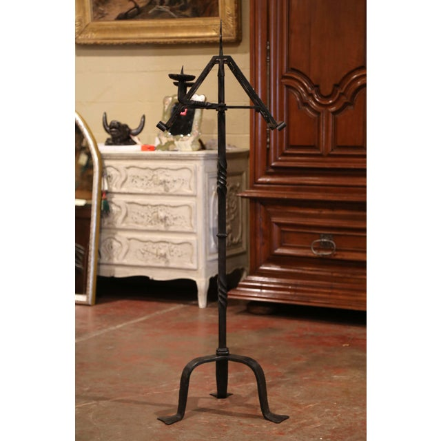 Metal 19th Century French Two-Side Forged Iron Music Stand Lectern With Fleur-De-Lys For Sale - Image 7 of 8