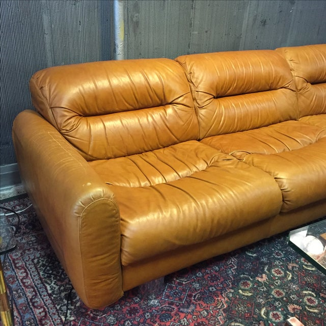 Vintage 1970s Leather and Chrome Sofa - Image 4 of 9