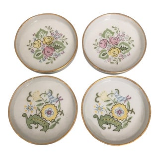 1930's Bohemian Gilded Porcelain Coasters - Set of 4 For Sale