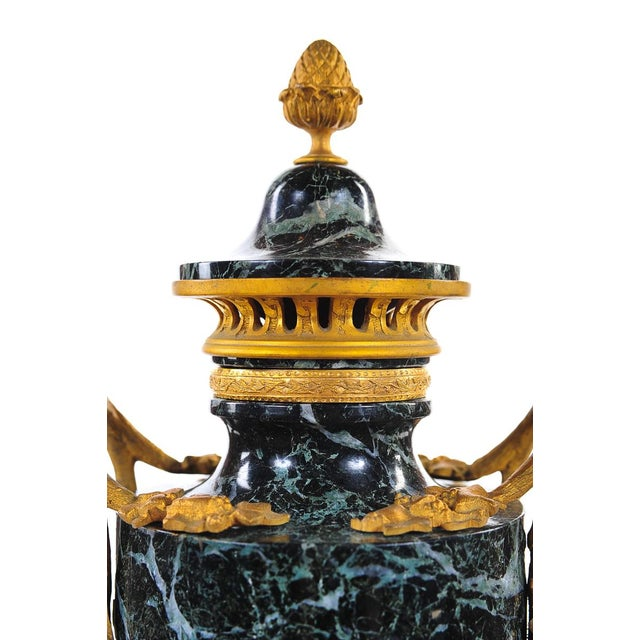 19th C. French Marble Gilt Urns - A Pair For Sale - Image 4 of 9