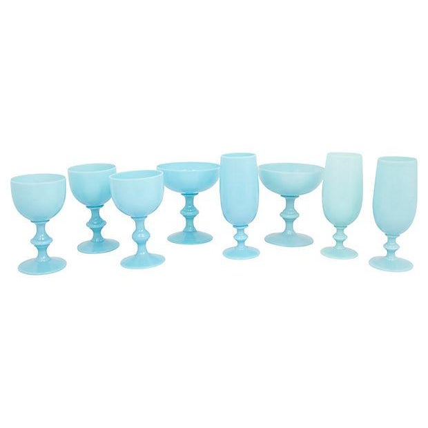 Glass French Opaline Stemware, S/8 For Sale - Image 7 of 7