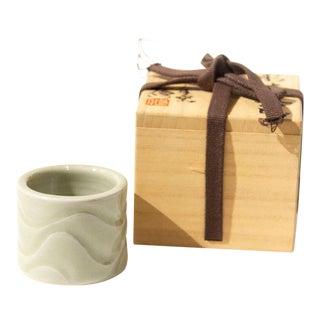 Celadon Futaoki Japanese Ceramic Tea Ceremony Lid Rest For Sale