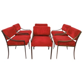 Set of Six Mastercraft Style Dining Chairs, Circa 1970s For Sale
