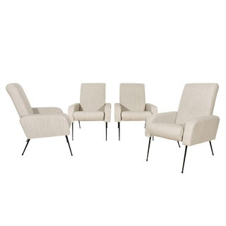 1950s Set of Four Airbone Style Armchairs, Steel, Gray Felt, Strap Seat, France For Sale