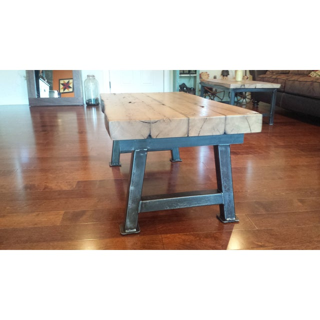 Industrial Reclaimed White Oak Coffee Table - Image 4 of 7