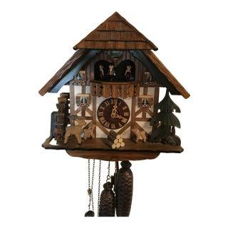 Large Vintage Handcrafted German /Switzerland8 Days Black Forest Cuckoo Clock Deer & Fawn Baby Deer For Sale