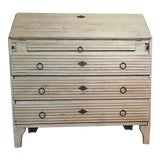 Image of Mid-19th Century Swedish Gustavian Reeded Flip Front Painted Wood Desk Secretarie For Sale